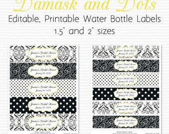 Water Bottle Labels, Black and White, Yellow Accent, Damsak and Dots Birthday Party Decor, Bridal Shower Decoration -- Editable, Printable