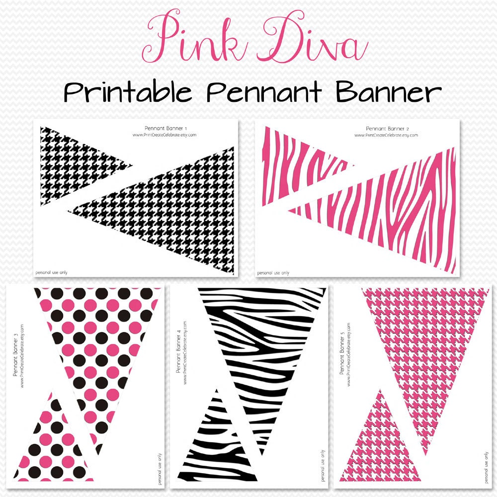 Pink Diva Pennant Banner Birthday Party Decoration Bridal