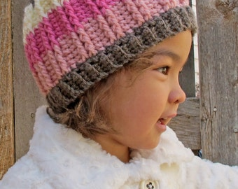 CROCHET PATTERN - The Neapolitan - crochet hat pattern, crochet beanie pattern (Baby Toddler Child Adult sizes) - Instant PDF Download