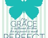 My Grace is Sufficient, Butterfly Art, Custom Scripture Art, Signs of Hope