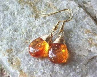 Amber Earrings gold earrings wire wrapped earrings  glass tear drop, gold,
