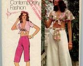 1970s Vintage Sewing Pattern Simplicity 5695  Misses Top, Capri Pants and Wide Leg Pants Bust 34 Waist 26