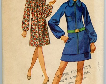 1970s Simplicity 8959 Mod Misses Jiffy Dress Or Mini Two-Piece Dress Vintage Sewing Pattern Bust 36
