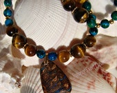 Australian Opal Pendant with Tiger Eye and Calsilica Necklace and Earring Set
