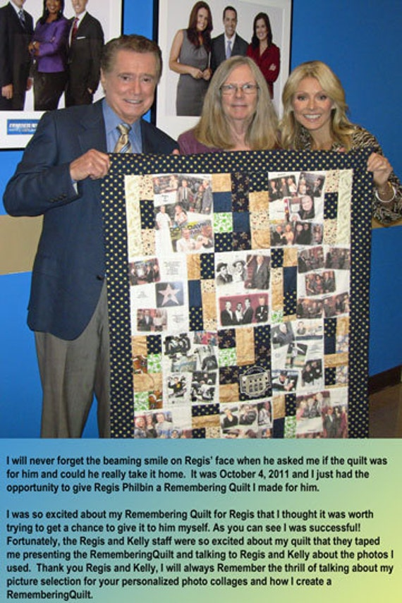 "Photo Quilt with People & Places Labeled 10 Fabric Photo Collages. 36""x48"" Perfect Lap and Display Size to View All Photos. Washable"