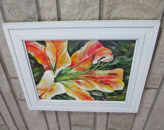 FRAMED ORIGINAL Large Painting, Orange Lilium, Orange, Green, Yellow, Orange, Flower, White Frame, Gift, LAYAWAY available