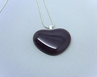 Plum colored Fused Glass Heart Pendant