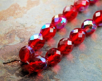 10mm Czech Beads Faceted  in AB Ruby Red -10