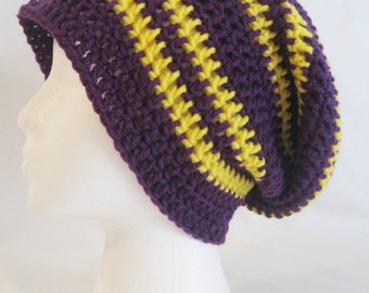 long slouch beanie purple, yellow striped hand crochet unisex fits teens and adults