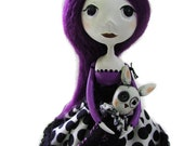 Cloth Art Doll - Purple Haired Doll - Spooky Bunny - Made To Order