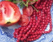Vintage Tomato Red Cut  Glass Beads