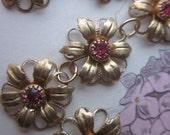 Vintage Swarovski Pink Crystal Flower Finding With Hoops