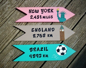 CUSTOM DIRECTIONAL SIGNS, Set of 3 Custom Hand Painted Signs, Personalized Signs, Unique Gift idea, Beach Sign,  Arrows, Destination Signs