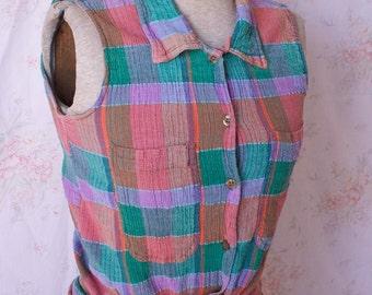 Vintage 90s Plaid Shirt, 1990s Button Up Shirt, Sleeveless, Blouse