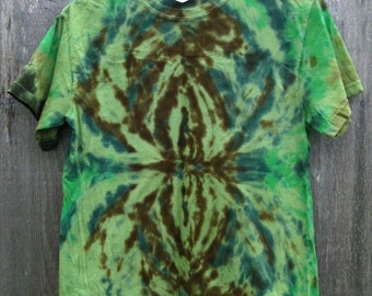 Tie dye shirt - mens small spider green brown