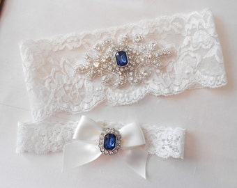 Wedding Garter Set Ivory or White Stretch Lace Bridal Garter MONOGRAM OPTION  With a Beautiful Sapphire and Rhinestone Setting