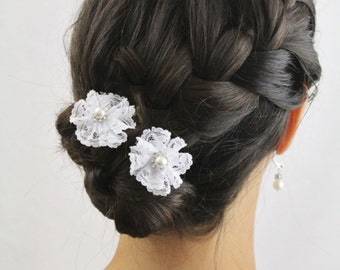 White Lace Hair Sticks for Bridal Updo - Lace and Pearls Wedding Hair Sticks - White Lace Flower Hair Sticks