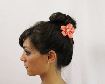 Coral Flower Hair Sticks - Set of 2 - Adults Ladies Hair Sticks with Coral Flowers - Coral Wedding Casual Updo