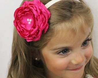 Hot Pink Flower Headband - Boho Chic Hot Pink Flower with Pearls and Elastic Headband - Bright Pink Flower