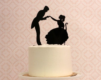 Silhouette Wedding Cake Topper -  Victorian Inspired