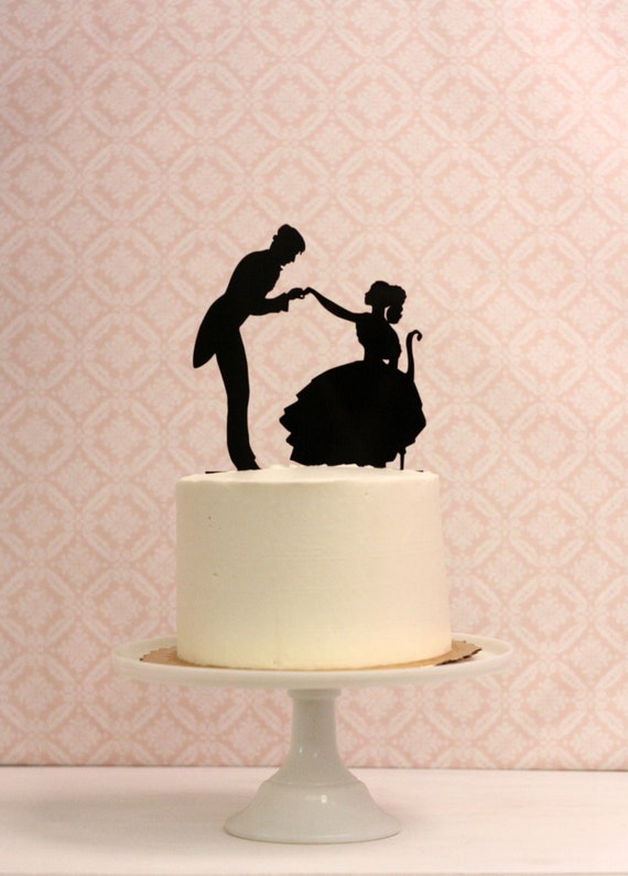 Silhouette Wedding Cake Topper Victorian Inspired