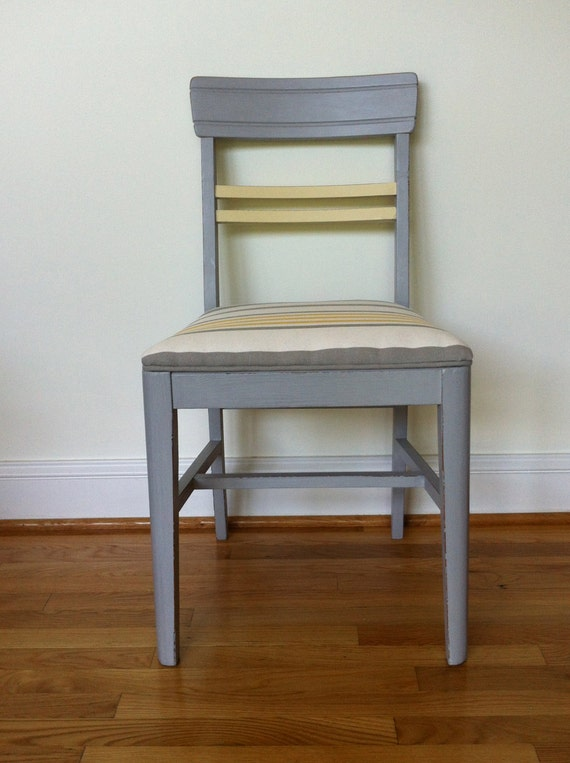 Items Similar To Gray And Yellow Striped Accent Chair On Etsy