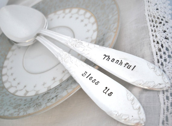 Serving Spoons - Vintage Hand Stamped Serving Spoon Set Bless Us and Give Thanks -  King Edward 1951 - Thanksgiving Decor