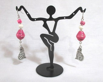Clearance--Kitty Cat Pink Paper bead earrings