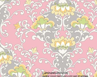 20 X 20 LAMINATED cotton fabric (similar to oilcloth) Priscilla damask pink gray - Appproved for children's products