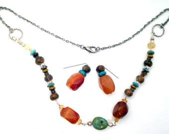 Turquoise, orange agate necklace handwrapped silver, faceted jasper and antiqued silver chain, Boho, rockhound: Natural Charm