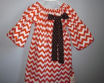 Fall Pumpkin Orange Chevron Peasant Dress with Brown Bow 6 12 18 24 2T 3T 4T 5/6 7/8 9/10 11/12 13/14