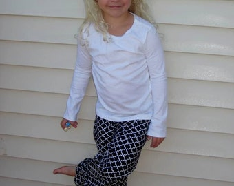 Custom girls or toddlers black and white ruffle pants 12 18 24 2T 3T 4T 5 6 7 8
