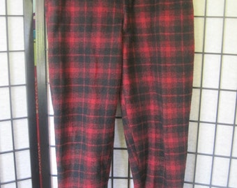 Vintage Buffalo Plaid Wool Flannel Pants by Johnson Woolen Mills 1950s 1960s Red Black 38 Waist Trousers Unisex Lumber Jack Joggers
