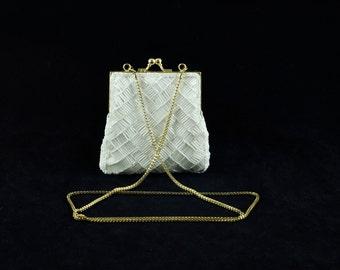 Vintage La Regale White Hand Made Evening Bag