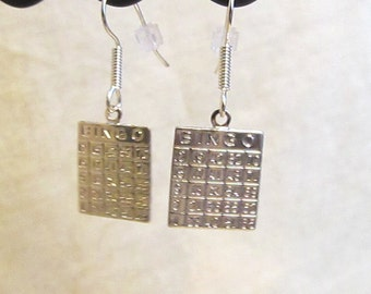 Bingo Card Earrings in Silver or Gold Plated