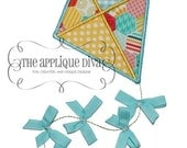 Summer Ribbon Kite 3D Digital Embroidery Design Machine Applique