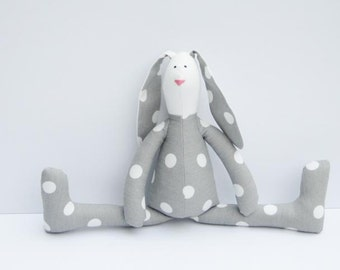 Stuffed rabbit toy bunny gray white polka dots hare plush bunny doll softie stuffed toy Easter and birthday gift