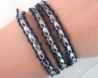 White Gold Chain Leather Wrap Bracelet on Black Leather with a Button Clasp