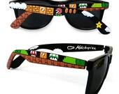 Super Mario hand painted Sunglasses - unique custom Wayfarer sunglasses - Piranha Plant - Question block - 1UP Mushroom