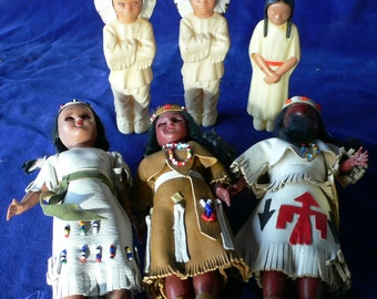 vintage dolls native american first people Indians in costumes from Diz Has Neat Stuff