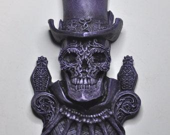 Baron Samedi Wall Plaque, Purple Finish
