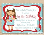 Little chef party invitation, cooking, baking birthday invitation, girl custom character, printable