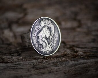 Goddess Athena Ring- Athena Sterling Silver Ring-Ancient Greek Inspired Jewelry-Replica Coin Rings