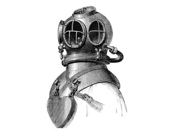 Deep Sea Diver Nautical Vintage Style Print Black and White Grey Beach House Decor