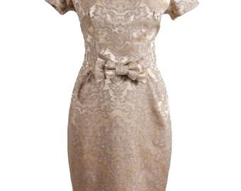 SALE Stunning antique gold Italian brocade 1950s style wiggle dress