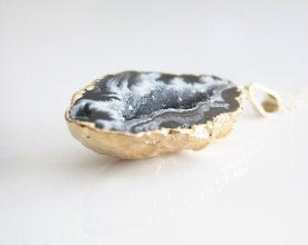 Mini Black Geode Pendant No. 1