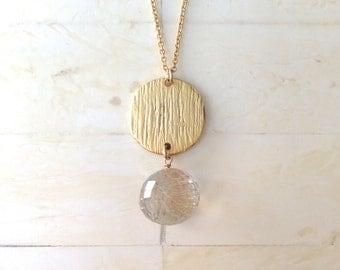 Rutilated Quartz Necklace Gold Necklace Gold Pendant Necklace Layering Necklace Layered Necklace