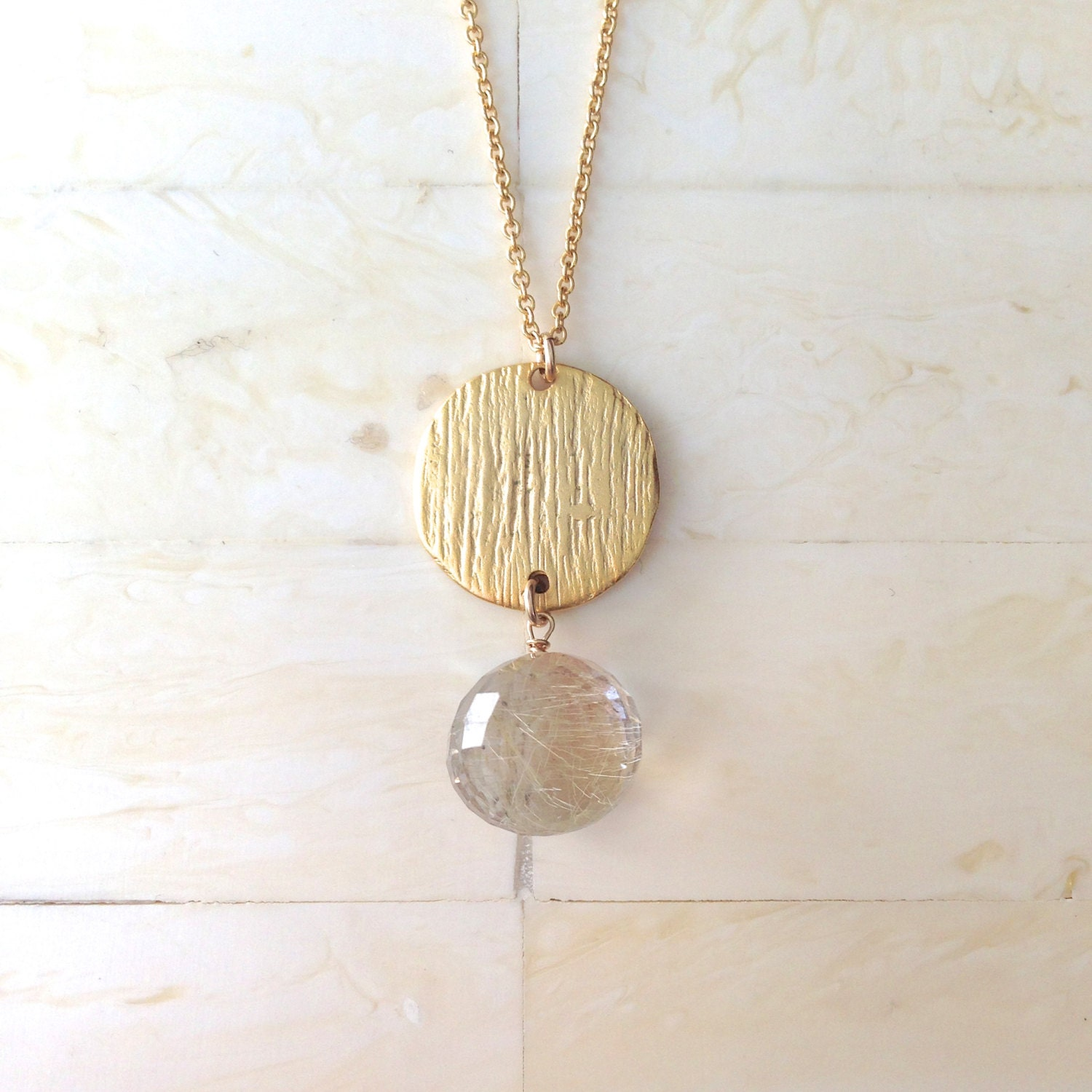 Rutilated quartz necklace gold necklace gold pendant necklace for Golden rutilated quartz jewelry