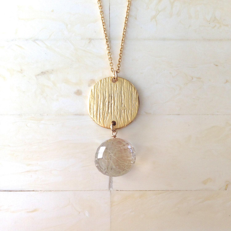 Rutilated quartz necklace gold necklace gold pendant necklace for Golden rutilated quartz jewelry