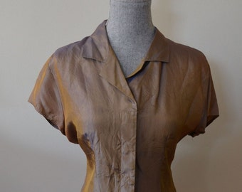 Vintage 1980s does 1950s Brown Irridescent Top by Cement